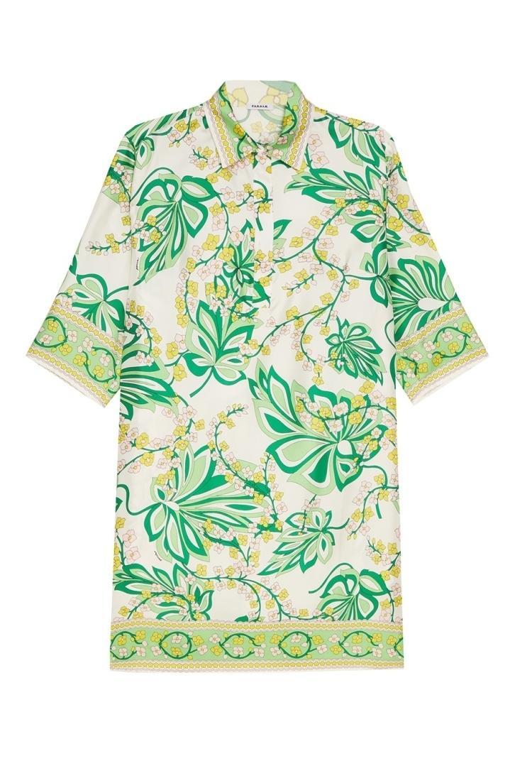 бежевая блестящая одежда с зеленым принтом