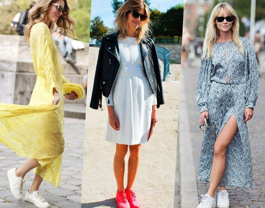 Как носить платье с кедами