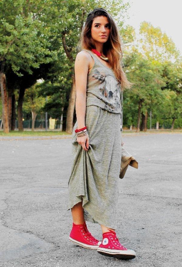 С чем носить высокие кеды