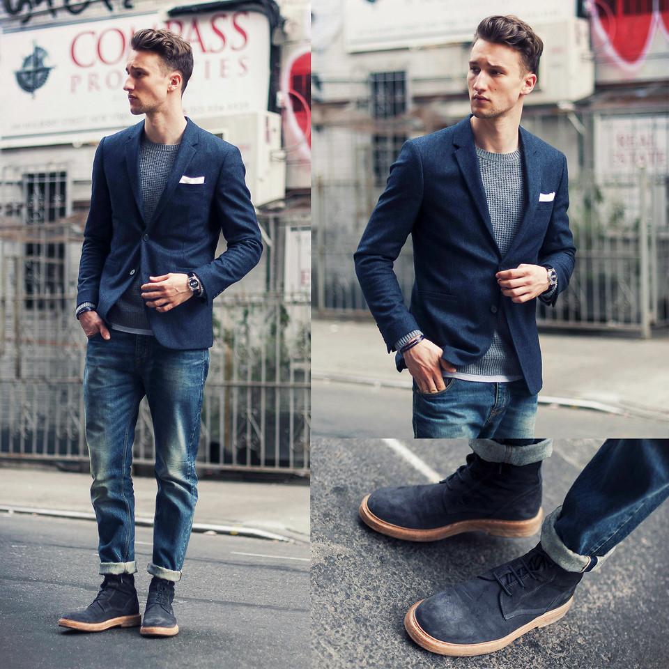 С чем носить синие ботинки
