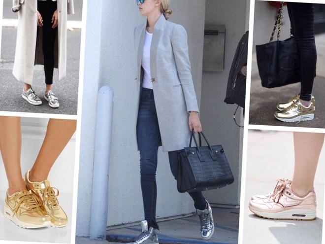 С чем носить золотые кроссовки