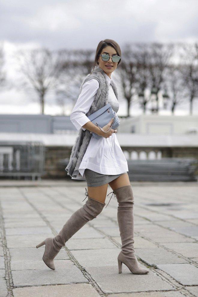 С чем носить серые сапоги