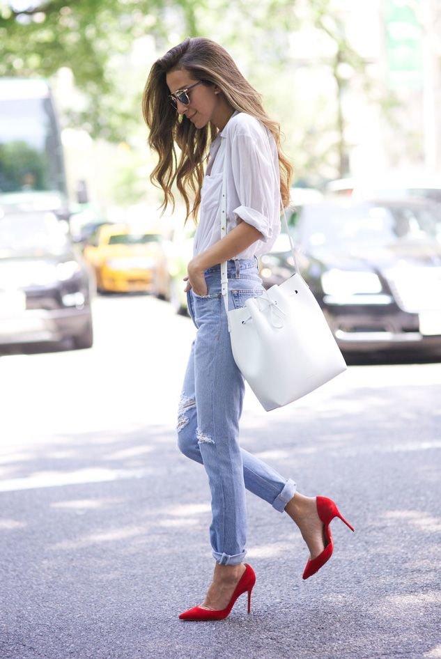С чем носить красные туфли-лодочки