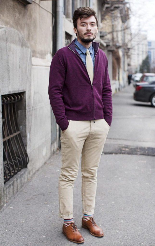 С чем носить бежевые мужские туфли