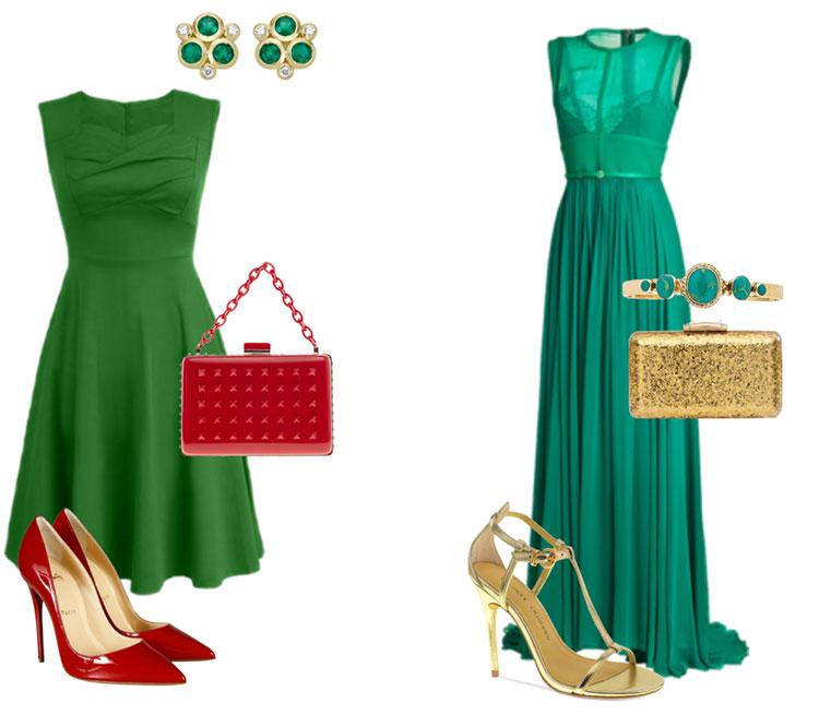 Какие туфли подойдут к зелёному платью