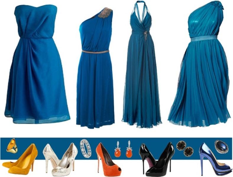 Какие туфли подойдут к синему платью