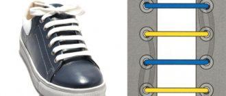 Шнуровка ботинок с 6-ю дырками